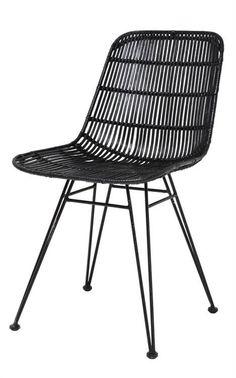 Goed model eetkamerstoel van HK-Living. Deze stoel heeft een metalen frame waar de rotan omheen is gevlochten. Met z'n mooie ranke pootjes is deze stoel echt ee