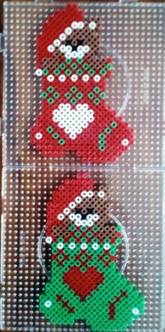 Melty Bead Patterns, Pearler Bead Patterns, Perler Patterns, Beading Patterns, Perler Bead Designs, Hama Beads Design, Beaded Christmas Decorations, Christmas Perler Beads, Christmas Crafts