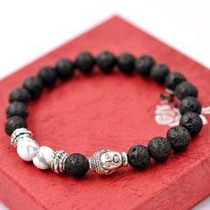 Lava Rock Buddha Bead Bracelet
