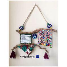 Home Crafts, Diy And Crafts, Arts And Crafts, Evil Eye Art, Turkish Eye, Driftwood Crafts, Gold Work, Diy Hanging, Handmade Ornaments