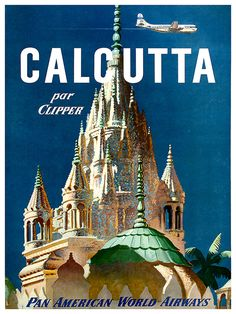 Inde Art Print Calcutta Travel Poster décoration par Blivingstons