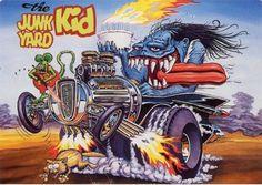 Rat Fink Ed Big Daddy Roth - The Junk Yard Kid. Cartoon Rat, Cartoon Pics, Rat Fink, Ed Roth Art, Monster Car, Garage Art, Motorcycle Art, Lowbrow Art, Ad Art