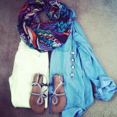 Teacher outfit | teacher style | ootd | outfit layout | chambray | skinny jeans | chevron scarf | frugal style