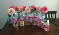 Bridal shower centerpieces and prizes This is cute and cheap! Bridal Shower Wine, Beach Bridal Showers, Bridal Shower Centerpieces, Wedding Showers, Bridal Shower Games Prizes, Wedding Shower Games, Game Prizes, Shower Favors, Bridal Shower Checklist