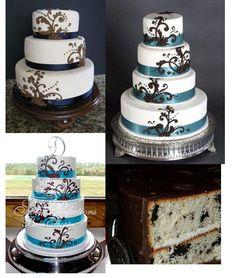 Oreo wedding cake!! with teal swirls/scrolls and green ribbon