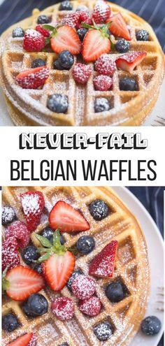Belgian waffles are such a classic weekend breakfast loved by all. Grab a few pa. - breakfast - Belgian waffles are such a classic weekend breakfast loved by all. Grab a few pantry items and make - Easy Belgian Waffle Recipe, Easy Waffle Recipe, Recipe For Waffles, Hotel Waffle Recipe, Sweet Cream Waffle Recipe, Classic Waffle Recipe, Yummy Waffles, Brunch Recipes, Breakfast Recipes