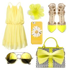 """Yellow"" by alberte-bigom-krogstrup on Polyvore featuring WithChic, Betsey Johnson, Kate Spade and DOUUOD"