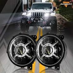 Auxbeam 9 inch Round LED Headlights for Jeep Wrangler JL - BlackDogMods Casting Aluminum, Wrangler Jl, Led Headlights