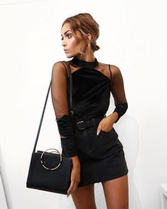 All Black Outfit - Mesh Cutouts, Denim Skirt, Leather Belt + Bag