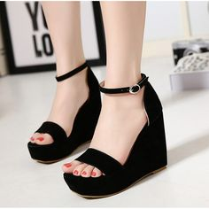 #Black #Suede #Sandals #Wedges #SS16 @ ShanghaiTrends.co.uk