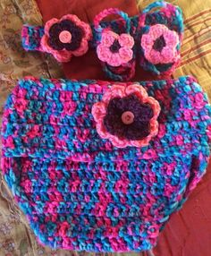 Girls spring flower diaper cover with headband and barefoot sandals... Made by Me