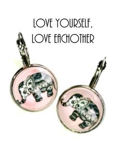 16 mm Glass Cabochon Earrings by MwL design nLLove yourself, Love eachother - Respect yourself, Respect eachother Elephant Earrings, Cute Elephant, Black Earrings, Belly Button Rings, Jewelery, Cufflinks, Etsy Shop, Shopping, Accessories