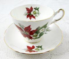 Regency Poinsettia Christmas Tea Cup and Saucer, Christmas Gift