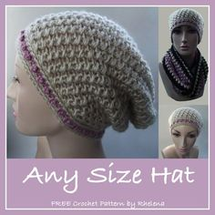 Any Size Hat - FREE pattern from CrochetN'Crafts.