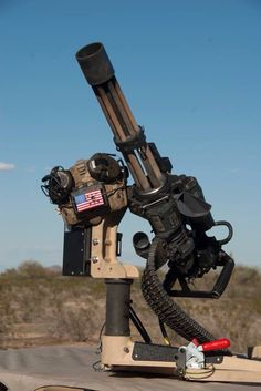 Chain gun = Gatling on (on drug speed!) literally cuts enemy soldiers in half at such a high rate of bullets delivery Military Weapons, Weapons Guns, Guns And Ammo, Big Guns, Cool Guns, Rifles, Custom Guns, Fire Powers, Tactical Gear