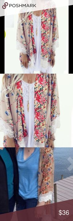 Gorgeous Cardigan💕💞💕 Printed  Kimono 🍇 Cover Up Blouse🍓super pretty 🍒adorable and very comfy 🍒be the first one and get free super cute Layered necklace with it 🍃🍁🍂 Sweaters Cardigans