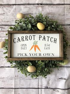 Carrot patch / easter sign/ easter decor/ spring sign/ spring decor/ farmhouse sign/ farmhouse decor/ gift Approximately measures is finished in Jacobean Stain. Every single sign is made out o Easter Projects, Easter Crafts, Easter Decor, Easter Ideas, Spring Projects, Spring Crafts, Holiday Crafts, Holiday Fun, Farm Signs