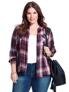 Plus Size HYDRAULIC Red and Blue Double Faced Plaid Button Front Shirt