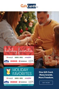 Not sure if Dad wants to shop at Lowe's this year or if he'd rather buy a book at Barnes & Noble? Wondering if your daughter would prefer makeup from Ulta or a new blouse from Macy's? With the new Holiday Favorites gift cards, you don't have to decide for them. Each gift card is usable at the stores and restaurants listed on the card. It's a super easy swap process that gives recipients more brands and more freedom--but you don't have to pay activation fees. It's a good idea. Diy Holiday Gifts, Christmas Gifts, Favorite Holiday, Books, Cards, Stuff To Buy, Xmas Gifts, Christmas Presents, Libros