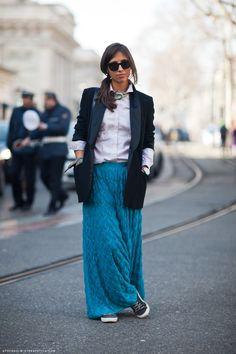 Want a long bright blue skirt !