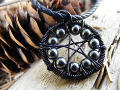 Hematite WireWrapped Pentacle Necklace by MoonLitCreations on Etsy, $32.00