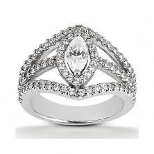 14k white gold marquise halo engagement ring with double split shank available at Wheat Jewelers