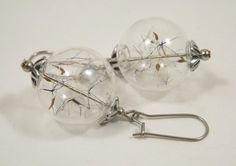Boucles d'oreilles globes en verre, terrarium graines de fleurs de pissenlit de…