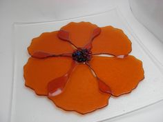 fused glass plate | Fused glass, ornamental flower plate, coral glass on an iridescent ...