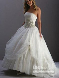 Wholesale A-Line/Princess boob tube top Applique custom-made baby-doll wedding dresses, Free shipping, $152.16-183.46/Piece | DHgate