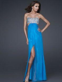 (NO.0245836 )2012 Style Empire Strapless Beading  Sleeveless Floor-length Elastic Woven Satin Blue Prom Dress / Evening Dress