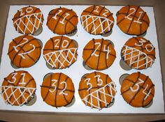 Basketball cupcakes, chocolate cake with buttercream icing made to look like some are going into the net with the boys numbers on them. Basketball Cupcakes, Basketball Party, Basketball Birthday, Basketball Plays, Basketball Workouts, Basketball Gifts, Basketball Season, Sports Party, Nike Basketball