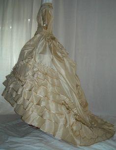 Extraordinary Post Civil War Dress Victorian Silk Gown 1860s Pearls Ruffles Bow | eBay