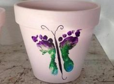 Butterfly footprints planter - great for grandmothers on Mother's Day