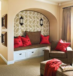 Cozy little reading nook! Love the red