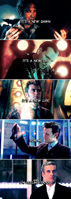 it's a new dawn it's a new day it's a new life for me and i'm feeling good #doctorwho