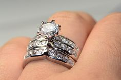 2.3 Carat Channel Wedding Ring Set Size 5,6,7,8,9,10. Starting at $1