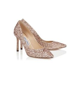 3433bd325a68 Jimmy Choo ROMY 85 Pink Coarse Glitter Fabric Pointy Toe Pumps Size  37.5