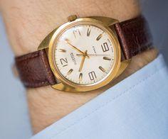 Men's watch Vostok gold plated wrist watch him dude's by SovietEra