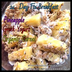 21 Day Fix Breakfast. The container used is indicated in the pic via font color.