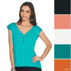 Combina el azul aguamarina en tu ropa. #Tips #Dupree V Neck, Women, Fashion, Aqua Blue, Blue Nails, Clothes, Moda, Women's, Fasion