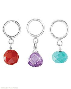 Sliding Charms sold in a set of three. Cubic Zirconia, Howlite, Carnelian, Sterling Silver.   $36