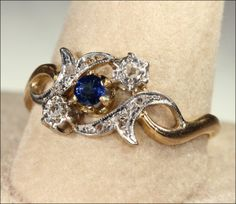 Antique French Sapphire and Diamond Ring, 18k & Platinum