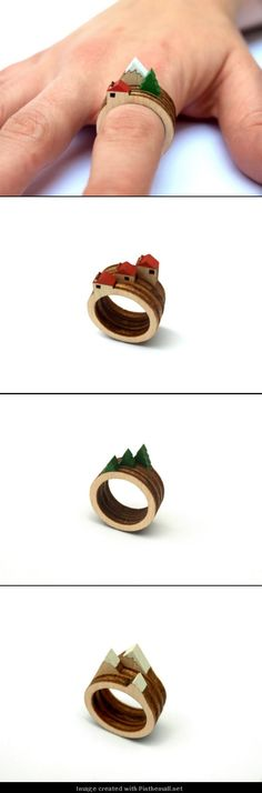 Mini-landscapes on your finger via these wooden rings