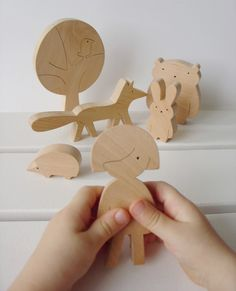 Wooden toy - Girl and forest animals - Woodland animals - Eco friendly wooden…