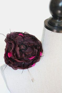 Purple Silk Flower hat pin brooch by TaraMDesigns on Etsy Flower Hats, Hat Pins, Silk Flowers, Fascinator, Brooch Pin, Etsy Store, Bridal, Purple, Trending Outfits