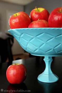 DIY Fruit Bowl and Cake Stand - I made the cake stand using a 25 cent thrifted candle holder and the one dinner plate of my white China not broken in our move. (Sad story.)