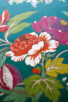 Detail of fabric from Manuel Canovas. We love the colours, you can really see the quality.