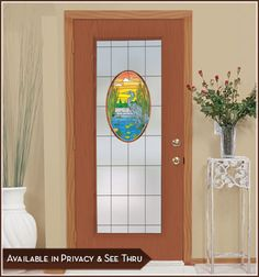 Lost Lake Door (privacy version): combines the beauty of nature with lite frost on a leading line grid which joins with the artwork. Obscures visibility through the glass without darkening the room. Stained Glass Window Film, Stained Glass Door, Tiffany Stained Glass, Double French Doors, Static Cling, Glass Wall Art, Panel Doors, Glass Design, Art Pieces