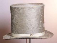 """1840-1850 Hoge hoed van grijsbruin haarvilt, """"Wilson, Warren & S."""""""