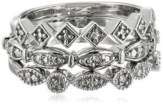 Sterling Silver Diamond Accent 3 Piece Stackable Ring *** For more information, visit image affiliate link Amazon.com